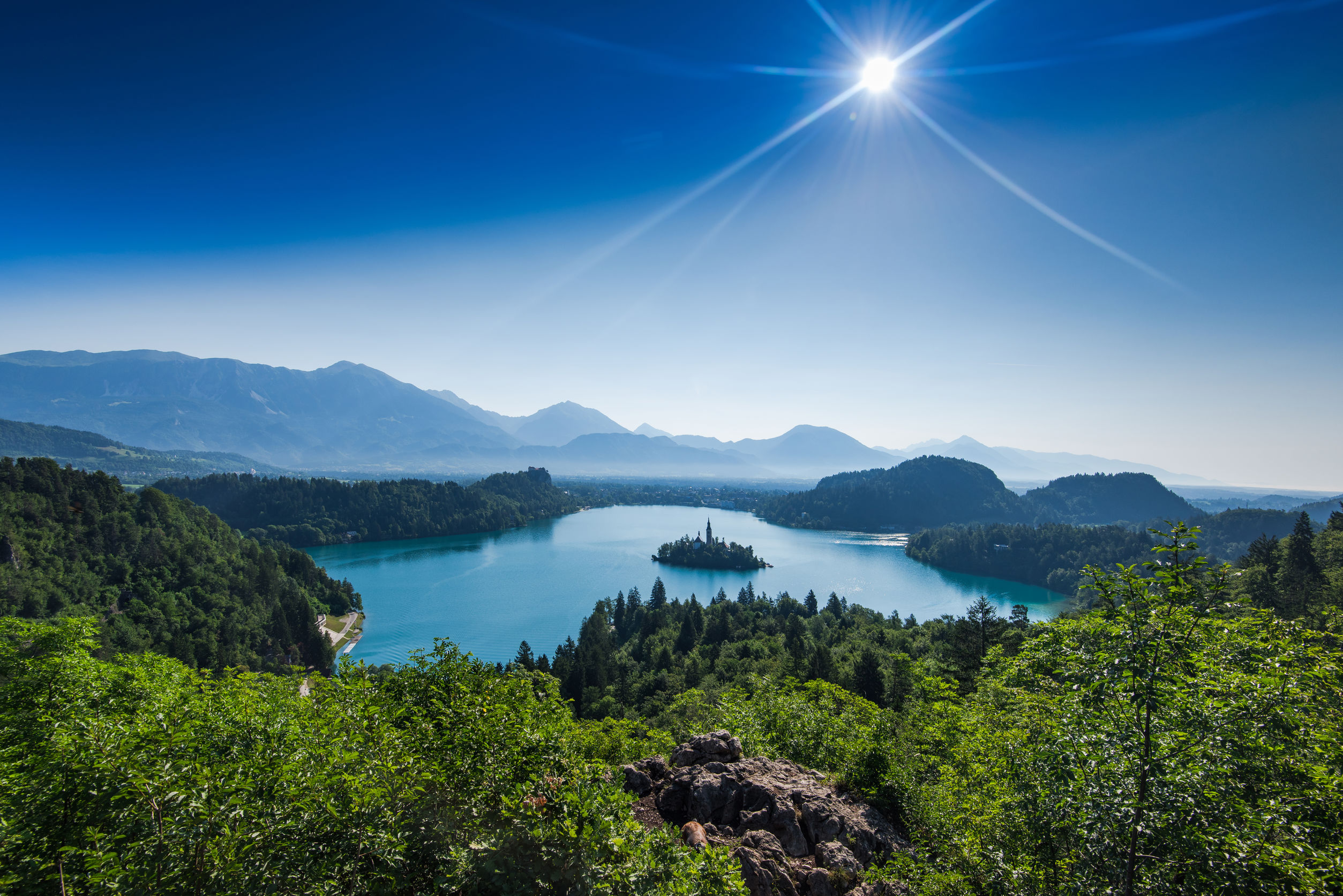 overlooking Bled lake panoramic vista in full summer sun
